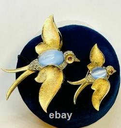 Trifari Alfred Philippe Blue Moonstone Cabochon Jelly Belly Flying Sparrow Pins