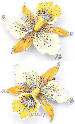 Trifari'Alfred Philippe' Cream Yellow Pave Red Spotted Orchid Flower Pin Clip