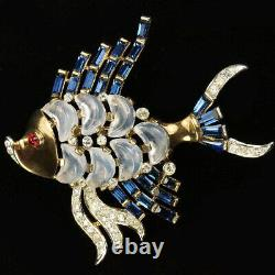 Trifari'Alfred Philippe' Demilune Moonstone and Sapphire Baguette Fish Pin