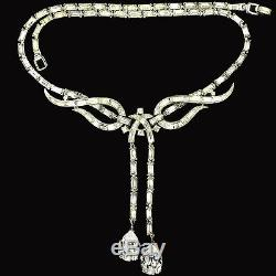 Trifari'Alfred Philippe' Diamante Baguette Swirls Double Pendant Necklace