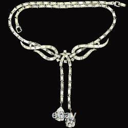Trifari'Alfred Philippe' Diamante Baguette Swirls Double Pendant Necklace