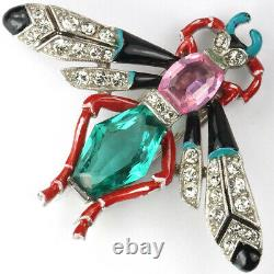 Trifari'Alfred Philippe' Emerald and Pink Topaz Pave and Enamel Bug Pin Clip
