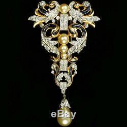 Trifari'Alfred Philippe' Empress Eugenie Pendant Pearl Pin Clip