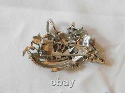 Trifari Alfred Philippe Enamel Flower Rhinestone Basket Pin Clip BOOK PIECE 1940