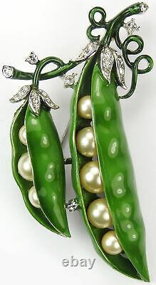 Trifari'Alfred Philippe' Enamel and Pearls Double Peas in the Pod Pin