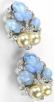 Trifari Alfred Philippe Fragonard' Sapphire Fruit Salad Pearls Clip Earrings