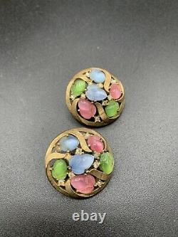 Trifari Alfred Philippe Gold Pastel moonglow Fruit Salads Circle Clip Earrings