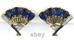 Trifari'Alfred Philippe' Gold Pave Sapphire and Enamel Fan Clip Earrings
