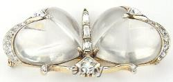 Trifari'Alfred Philippe' Gold Pave and Baguettes Jelly Belly Butterfly Pin