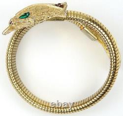 Trifari'Alfred Philippe' Gold Rubies and Emeralds Elasticated Snake Bracelet