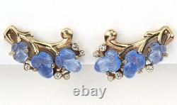 Trifari'Alfred Philippe' Gold and Blue Moonstone Fruit Salads Clip Earrings