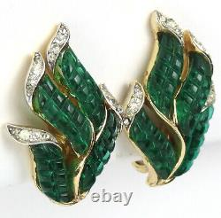 Trifari'Alfred Philippe' Gold and Invisibly Set Emerald Leaf Clip Earrings