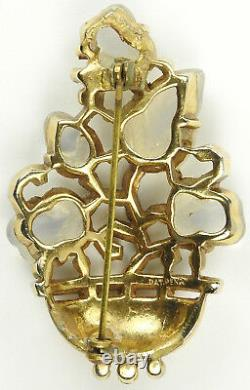 Trifari Alfred Philippe Gold and Moonstone Fruit Salad Flower Basket Pin