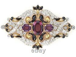 Trifari'Alfred Philippe' Gold and Pave Scrolls Black Enamel & Amethysts Bar Pin