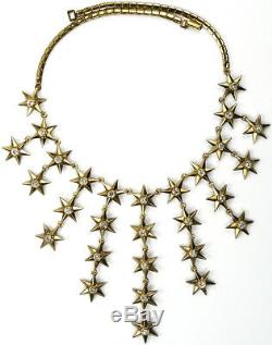 Trifari'Alfred Philippe' Golden Six Pointed Spangled Stars Necklace