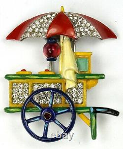 Trifari'Alfred Philippe' Ice Cream Cart with Umbrella Pin Clip