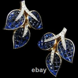 Trifari'Alfred Philippe' Invisibly Set Sapphire Leaves Clip Earrings