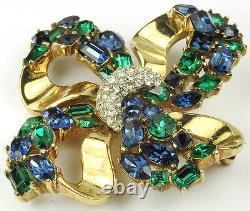 Trifari Alfred Philippe Jeweled Symphony Emerald & Sapphire Golden Bow Pin
