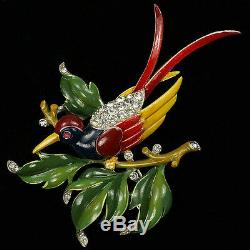 Trifari'Alfred Philippe' Large Enamelled Bird on a Branch Pin Clip