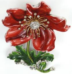 Trifari'Alfred Philippe' Large Pave and Red Enamel Rose Flower Pin Clip