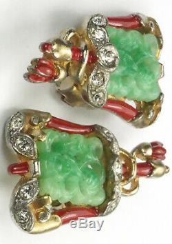Trifari'Alfred Philippe' Ming Chinese Processional Flag Clip Earrings