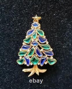 Trifari Alfred Philippe Modern Mosaics, Poured Glass Christmas Tree Pin/brooch