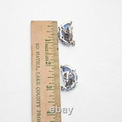 Trifari Alfred Philippe Moonstone Fruit Salad Rhinestone Spangles Clip Earrings