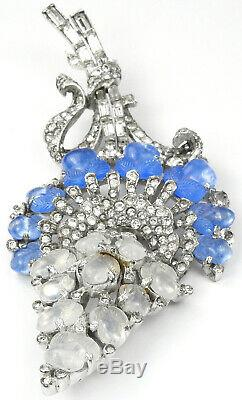 Trifari'Alfred Philippe' Moonstone and Sapphire Fruit Salads Giant Flower Pin