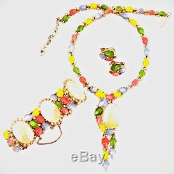 Trifari Alfred Philippe Pastel Fruit Salad & M. O. P Necklace, Bracelet & Earrings