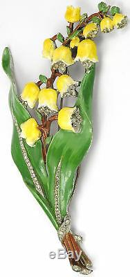 Trifari'Alfred Philippe' Pave & Enamel Giant Yellow Lily of the Valley Pin Clip