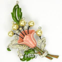 Trifari'Alfred Philippe' Pave Enamel and Pearls Lily Pin Clip