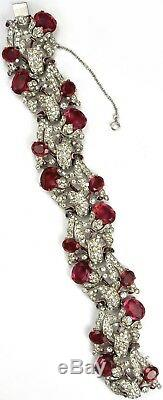 Trifari'Alfred Philippe' Pave Enamel and Ruby Floral Bell Flower Bracelet