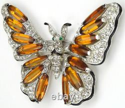 Trifari'Alfred Philippe' Pave Enamel and and Topaz Lozenges Butterfly Pin