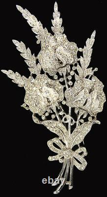 Trifari'Alfred Philippe' Pave Triple Floral Spray with Bow Pin Clip