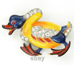 Trifari'Alfred Philippe' Pave and Enamel Angry Duck Bird Pin