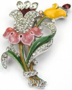 Trifari'Alfred Philippe' Pave and Enamel Bellflower and Lily Floral Spray Pin C