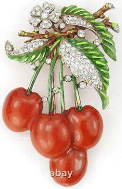Trifari'Alfred Philippe' Pave and Enamel Cherries Pin Clip