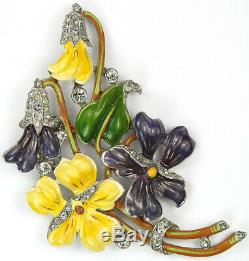Trifari'Alfred Philippe' Pave and Enamel Floral Spray of Pansies Pin Clip