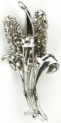 Trifari'Alfred Philippe' Pave and Enamel Giant Double Hyacinth Pin Clip