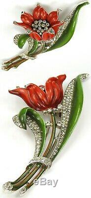 Trifari'Alfred Philippe' Pave and Enamel Giant Red Lily Pin Clip