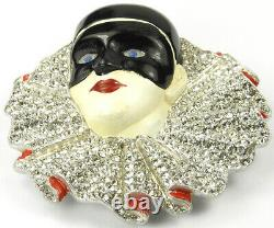 Trifari'Alfred Philippe' Pave and Enamel Masked Harlequin Pin Clip