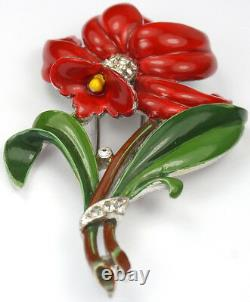Trifari'Alfred Philippe' Pave and Enamel Red Daffodil Flower Pin Clip