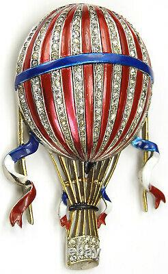 Trifari'Alfred Philippe' Pave and Enamel Red White and Blue Hot Air Balloon Pin