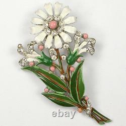 Trifari'Alfred Philippe' Pave and Enamel White Daisy Pin Clip