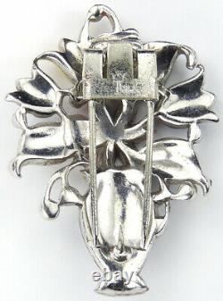Trifari'Alfred Philippe' Pave and Enamelled Flowers in a Vase Pin Clip
