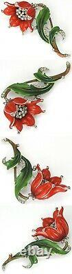 Trifari'Alfred Philippe' Pave and Red Enamel Lily Pin Clip