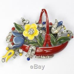 Trifari'Alfred Philippe' Pave and Red Enamelled Flower Basket Pin Clip