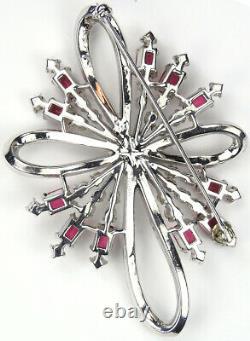 Trifari'Alfred Philippe' Pave and Rubies Spiral Sunburst Bow Swirl Pin