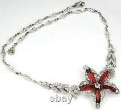 Trifari'Alfred Philippe' Pave and Ruby Lozenges Star Flower Choker Necklace