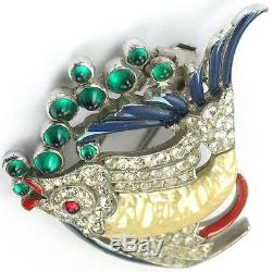 Trifari'Alfred Philippe' Pearl Belly Fish with Emerald Bubbles Pin Clip